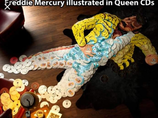 Freddie Mercury Illustrated In Queen CDs.