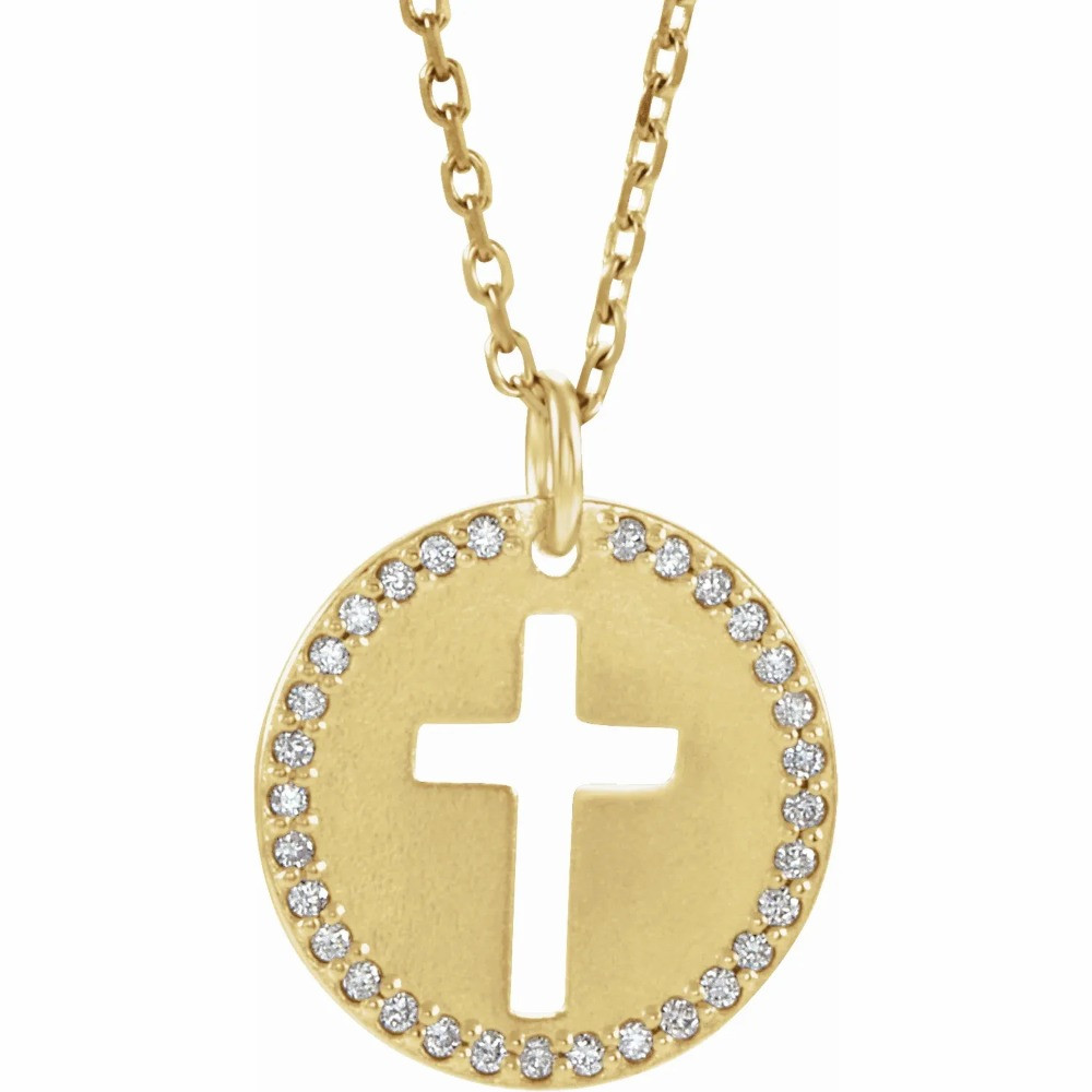 Cross necklace diamond disc yellow gold