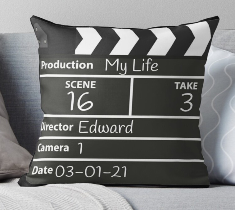 film movie lover clapperboard pillow design