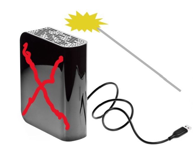 "Cartoon of external hard drive with a red ""x"" on it and a magic wand held over it"