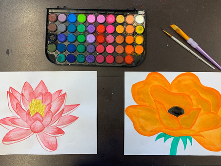 Art activities inspired by Frida Kahlo, Georgia O'Keeffe, and Pablo Picasso