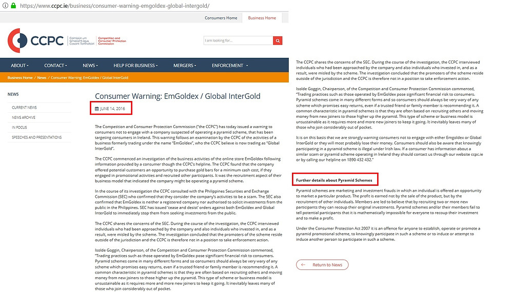 CCPC Warning Global Intergold