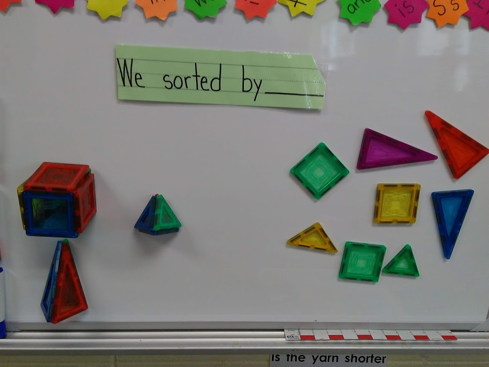 Brain Teaser for the day: We sorted the magnetic shapes by________. The children were encouraged to think about how the shapes were sorted throughout the day. All their ideas were recognized and documented. During our afternoon meeting, we discussed their ideas and the answer was revealed. As parents arrived to pick their child up, the children guided them over to the board to figure it out, and couldn't wait to give the answer and explanation.