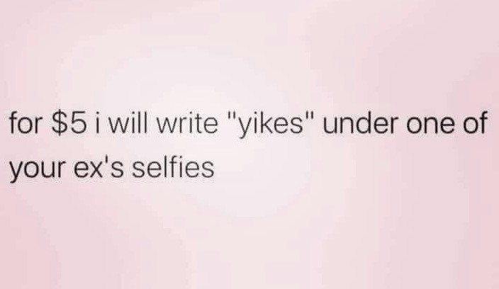 For $5 I will write yikes under one of your ex's selfies