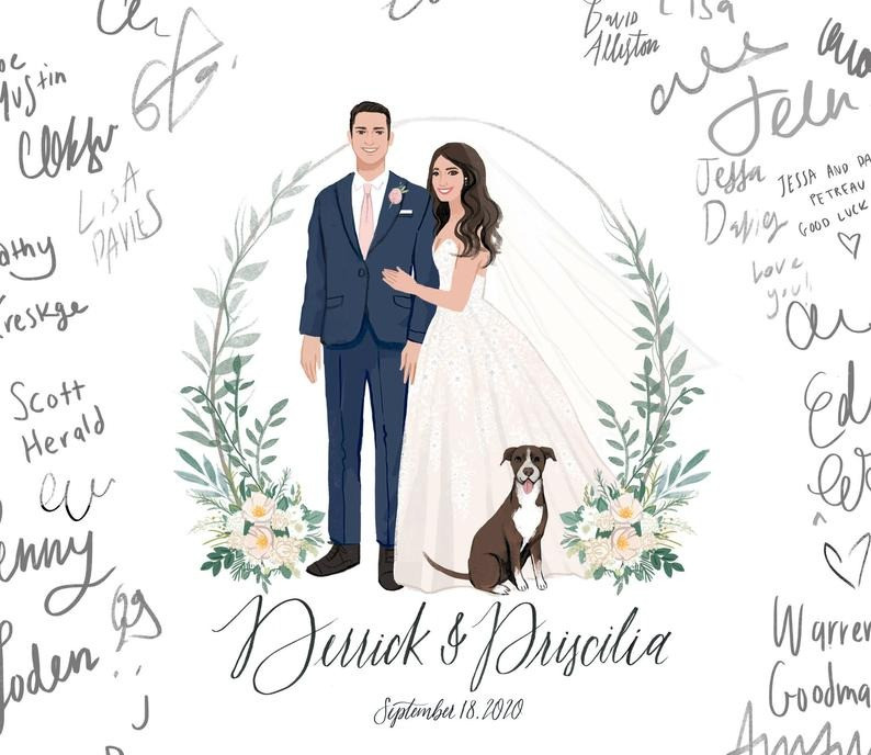 A custom portrait of a bride & groom & their dog, signed by wedding guests
