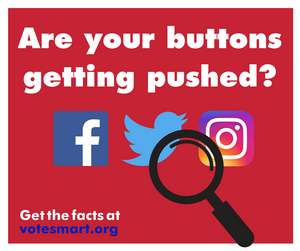 Graphic depicting a magnifying glass examining several social media icons and urging users to get the facts at VoteSmart.org