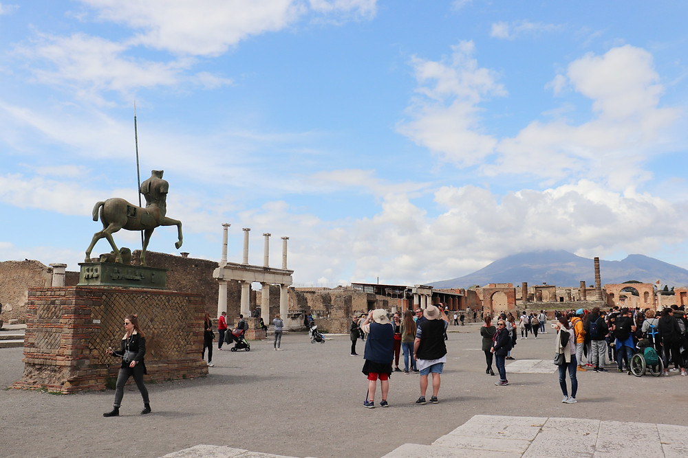 View of Pompeii main square in Naples Italy