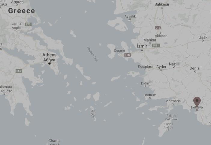 Η Μάκρη σε χάρτη της Google στο σημείο που σήμερα είναι πόλη της Τουρκίας Fethiye