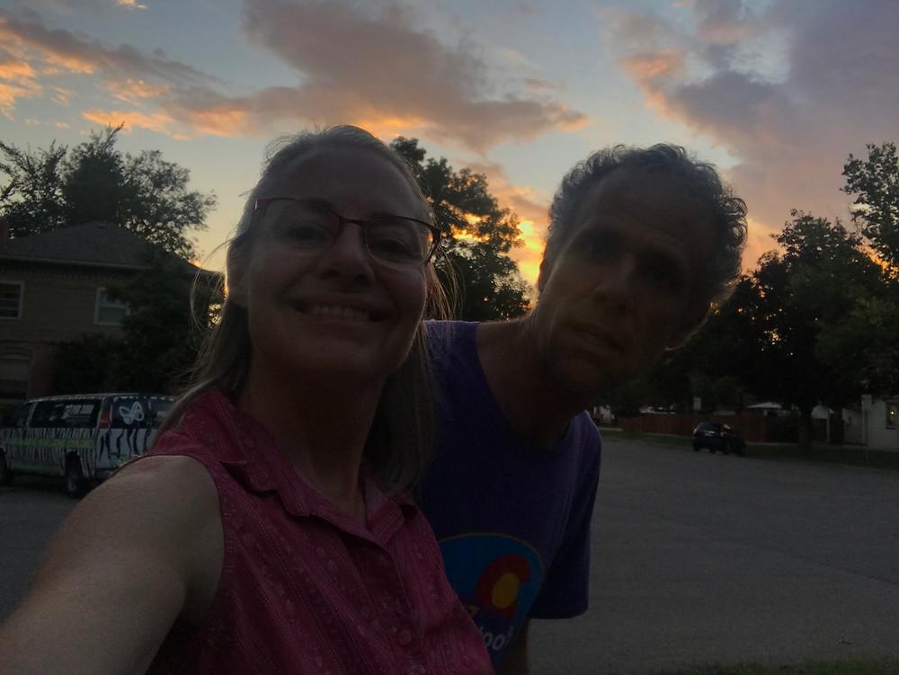 Gale & Doug finishing a pleasant evening walk in the neighborhood
