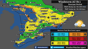 Wind Forecast, for Southern Ontario. Issued April 13th, 2020.