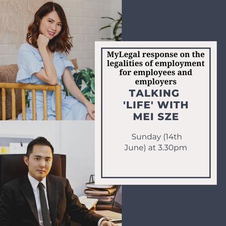 myLegal Response on TALKING 'LIFE' WITH MEI SZE