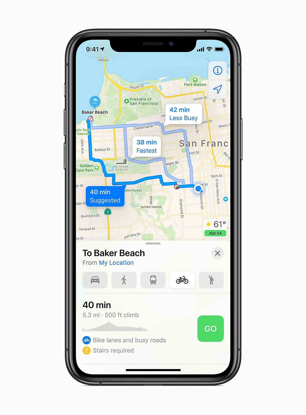 Cycling directions come to Maps with iOS 14 in the fall.