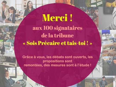 """Notre tribune du 5 mai """" Sois précaire et tais-toi ! """" signée par 100 personnes !"""