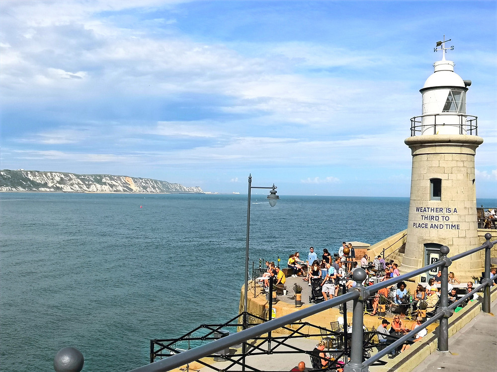Champagne bar lighthouse and harbour arm view, Folkestone