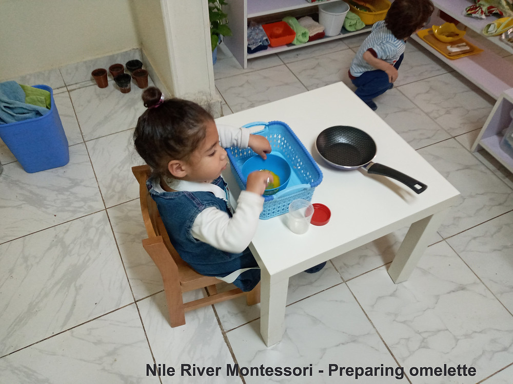 Our children Break the egg, put it in a bowl mix it with wisk then put it in a pan. we show the activity to the child, and then we observe them to make sure they can do it themselves, we provide help only when needed.
