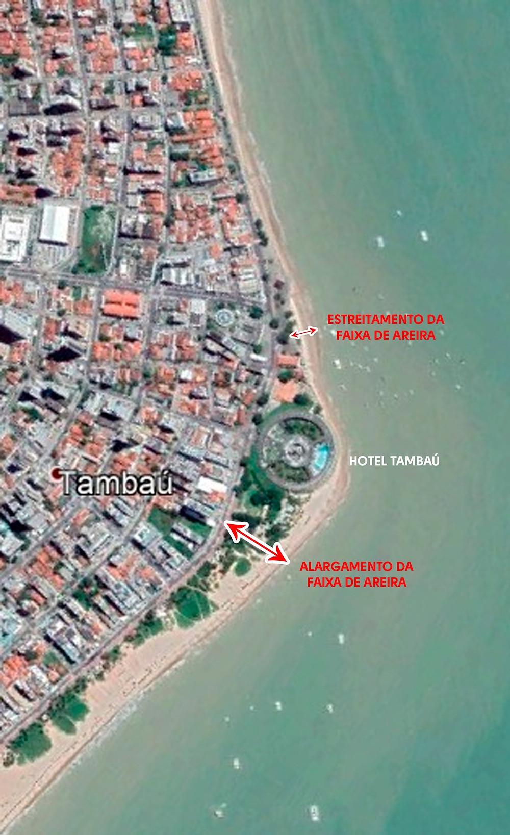 Detalhe do efeito do Hotel Tambaú como fixador da linha de costa e suas consequências para o transporte natural de areia.