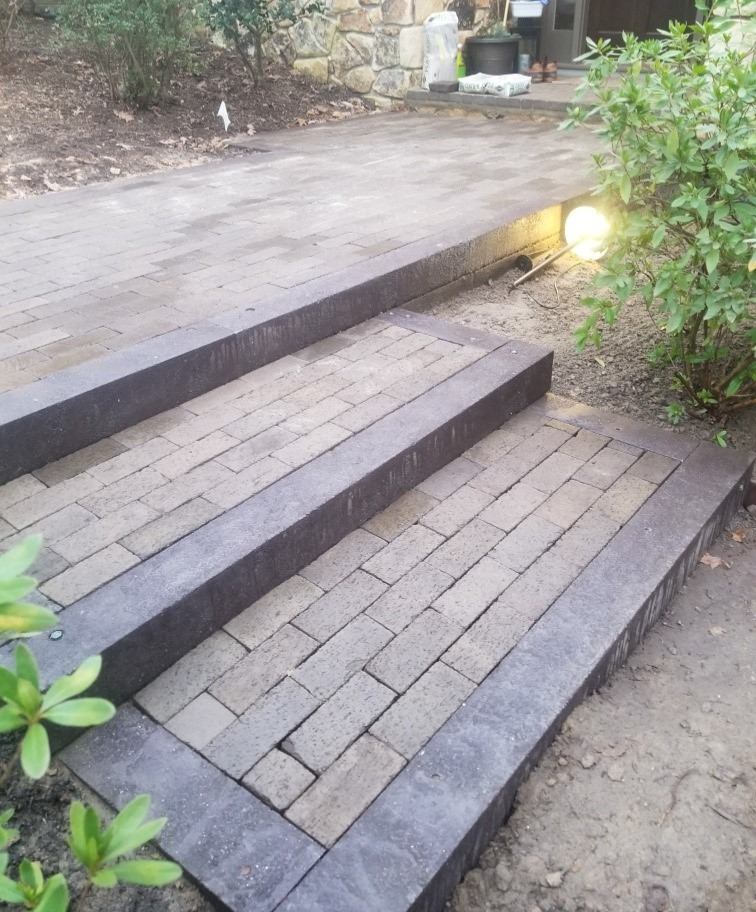 Outdoor Steps & Walkway Bordered with BestPLUS Brown 6x6 Recycled Plastic Landscape Timbers
