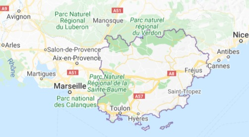 A map showing the area of the Var, one of the southerly regions in Provence