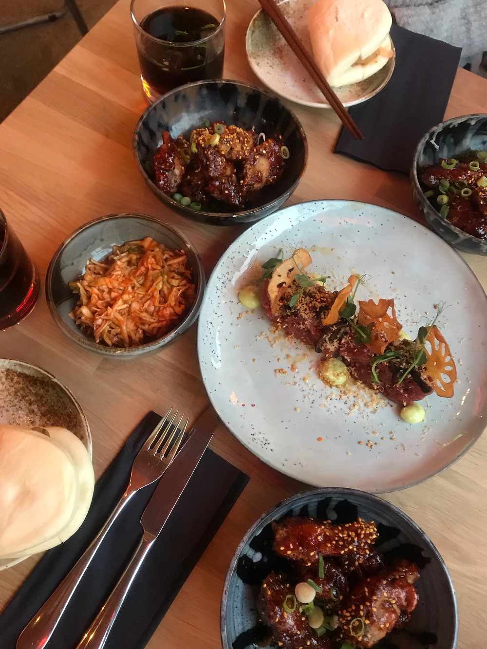 Asian Con Fusion at Food Lab by Tildas! Great steak tartare, Bao Buns and chicken wings!