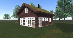 Perspektiv bilder av hytte for salg