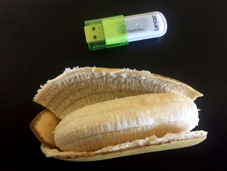 Left: Ripened bananas. Right: A very yummy banana next to a USB as a size comparison.