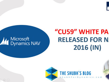 The wait is finally over. CU59 White Paper released today for NAV 2016 (IN).