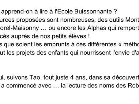Comment apprend-on à lire à l'École Buissonnante ?