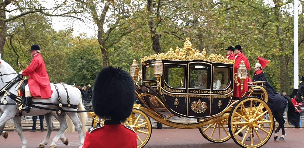 Queen Elizabeth on her way to the State Opening of Parliament in London England