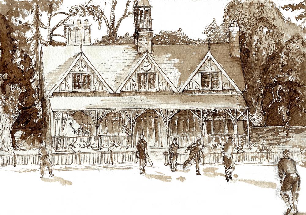 cricket pavilion, cricket, cricket match, architecture, oxford, oxford sketch,