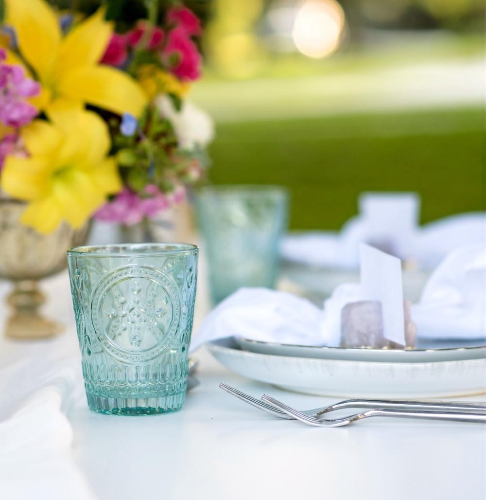 Vintage cup wedding tablescape Blue Satin Bee