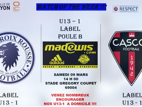 Match Of The Week !!! : U13 Label vs CASCOL