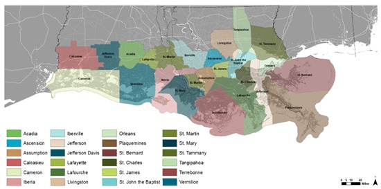 Map of coastal parishes in Louisiana that were part of the resilience project