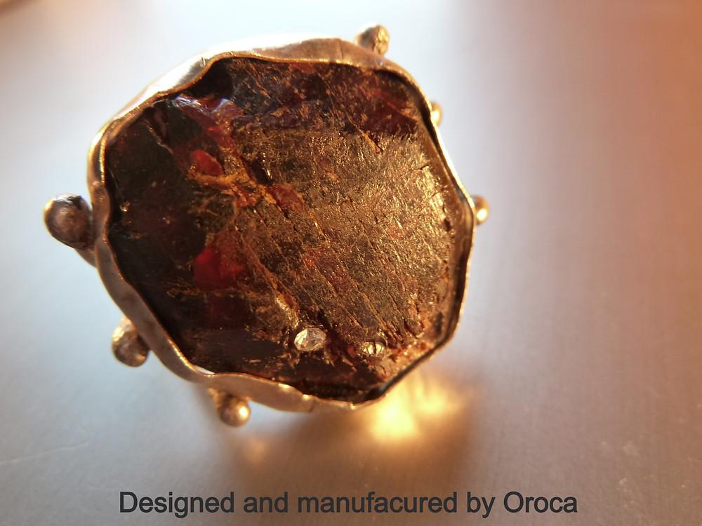 Raw Garnet silver ring