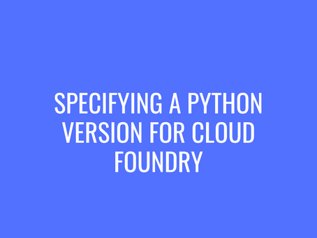 Specifying a Python Version for Cloud Foundry