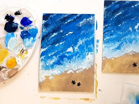 How to paint Beach Turtles Liquid Art!