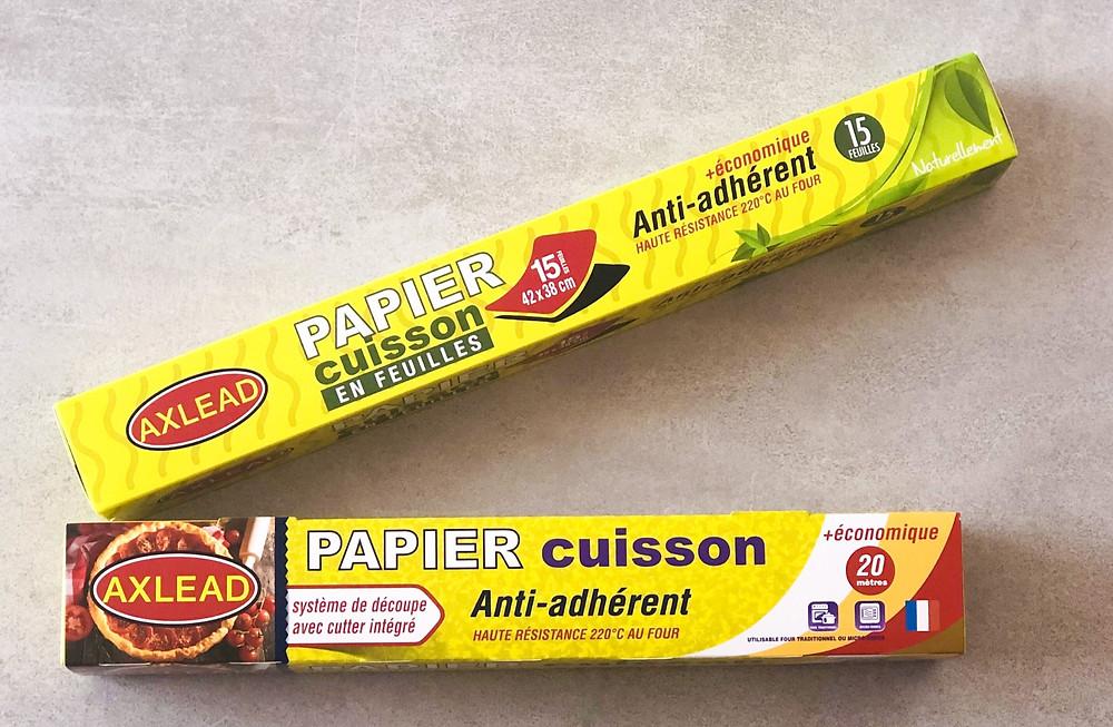 Papier cuisson sulfurisé, en feuilles / prédécoupé, anti-adhérent, système de découpe facile, réglette de découpe