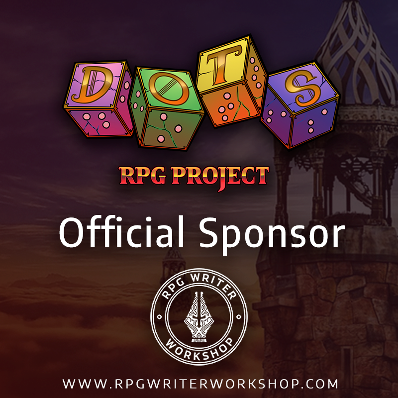 dots rpg project logo with the text official sponsor and rpg writer workshop logo below