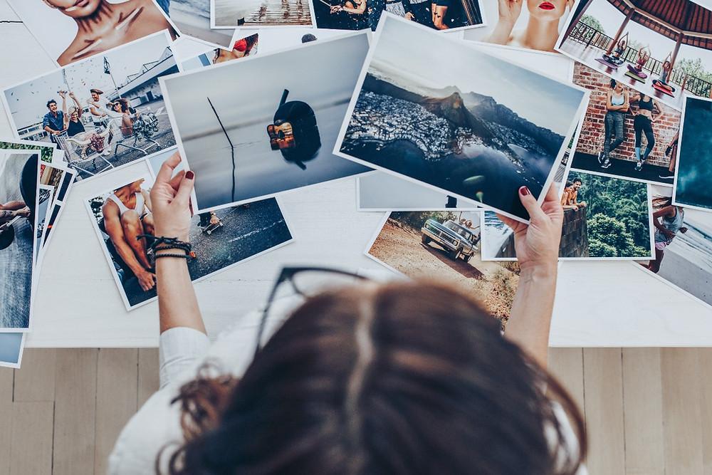 Girl looking at photos
