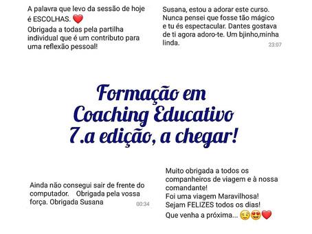 Novas datas, Formação em Coaching Educativo