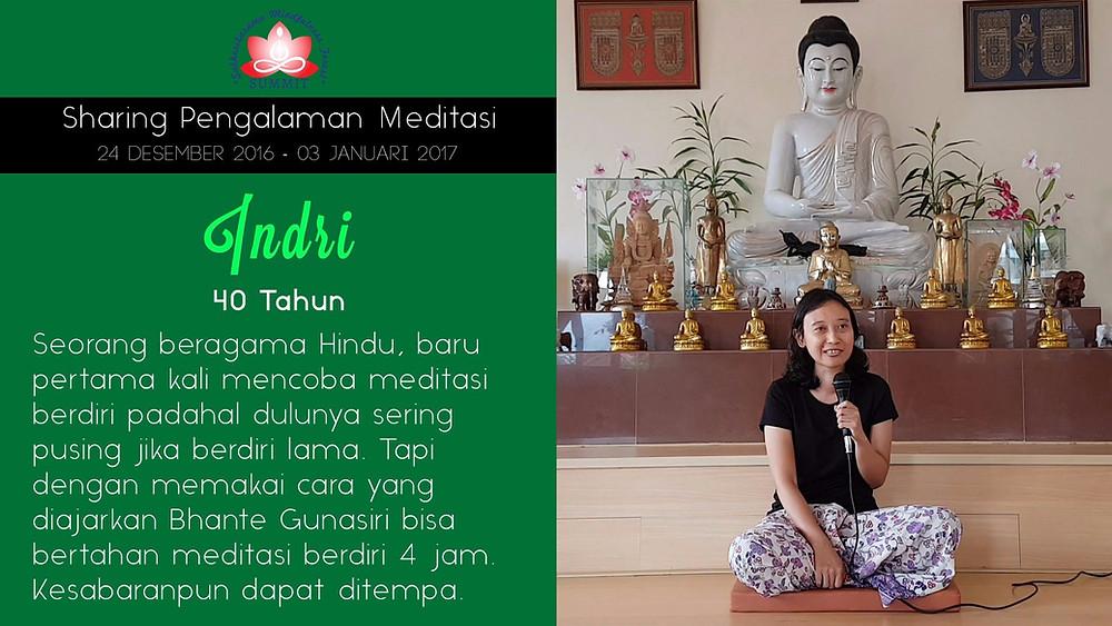 Melatih kesabaran dengan Meditasi - Sharing oleh INDRI