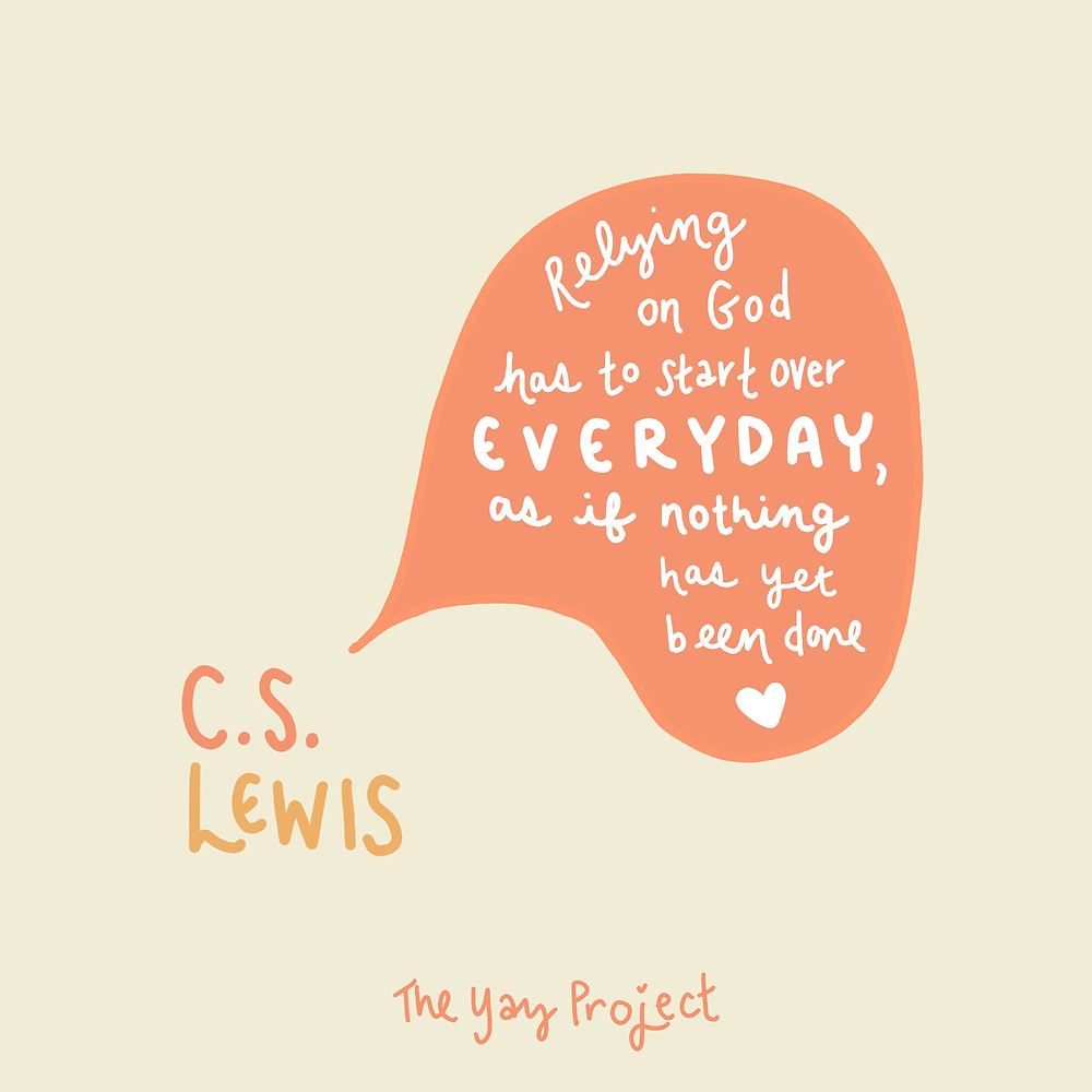 Inspirational graphic art quote by CS Lewis by Jenni Lien of The Yay Project