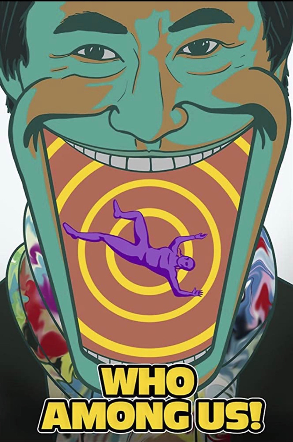 This image shows a cartoon style man with his mouth wide open, a smaller figure inside his mouth falling into what looks like a forever deepening swirl. The man cartoon man is coloured predominantly in green while the swirl is coloured both orange and yellow interchanging. The smaller figure falling into said swirl is solid purple in colour. The short film's title is written in simple, yellow, block letters at the bottom of the image.