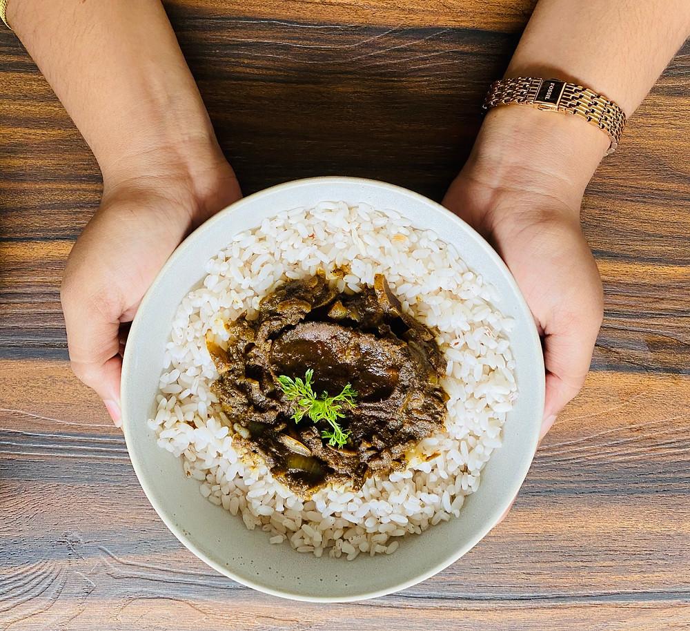 Goan Rice Bowl- boiled rice and koddi (Curry)