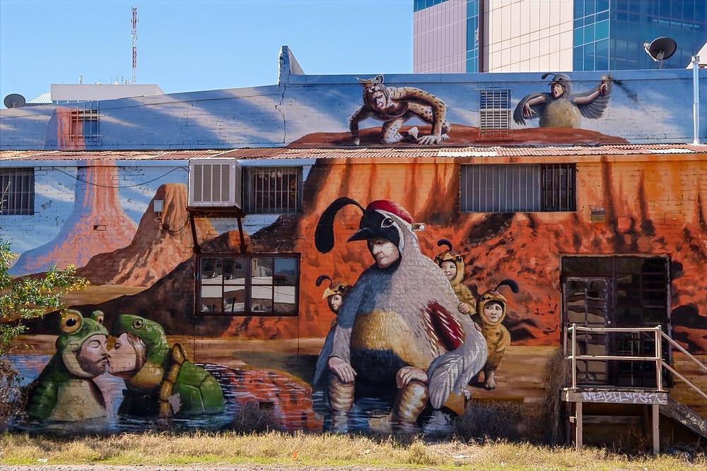 Joe Pagac mural; desert creatures costumes