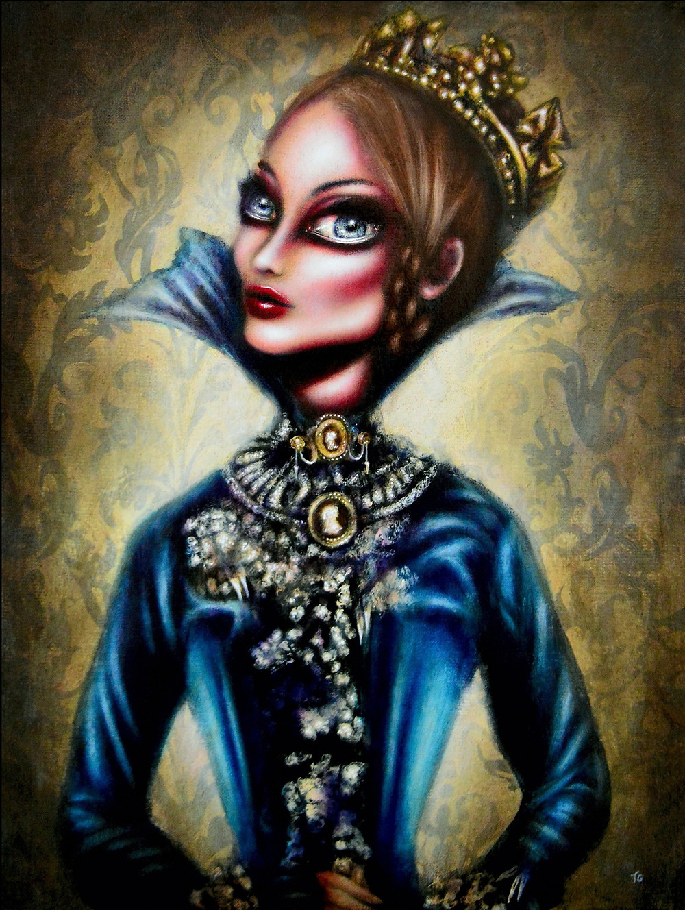 painting of queen victoria in a blue dress in a damask basckground by tiago azevedo a lowbrow pop surrealism artist