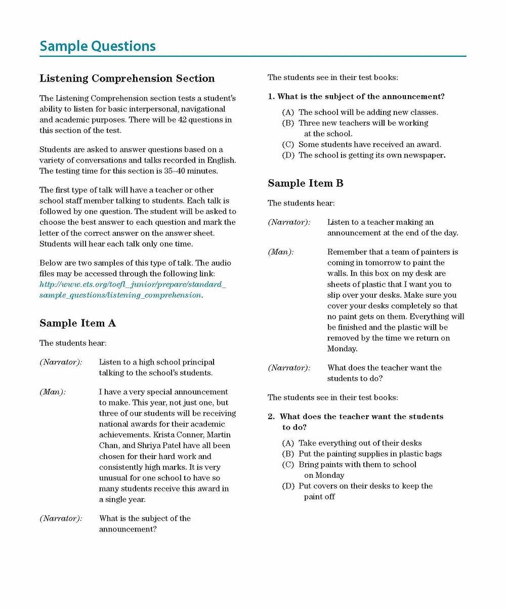 TOEFL Junior - Listening