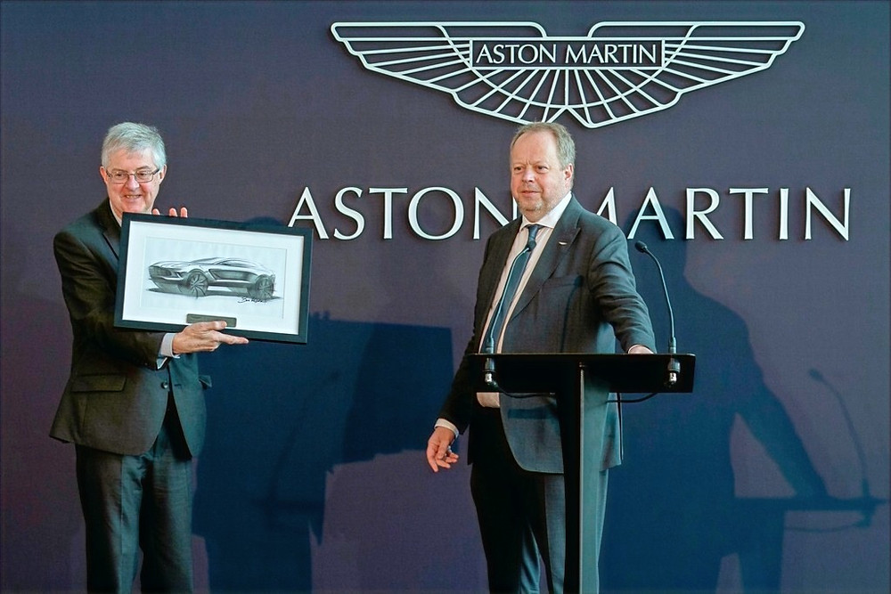 First Minister of Wales, Rt Hon Mark Drakeford AM (Left) joined Aston Martin Lagonda President and Group CEO, Dr Andy Palmer (Right) at a ceremony to officially open the British luxury marque's new plant