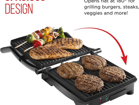 Chefman Panini Press Grill and Gourmet Sandwich Maker Non-Stick Coated Plates