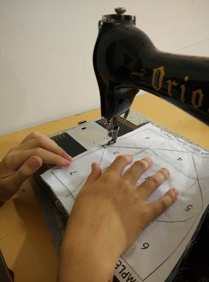 Stitching on the marked lines