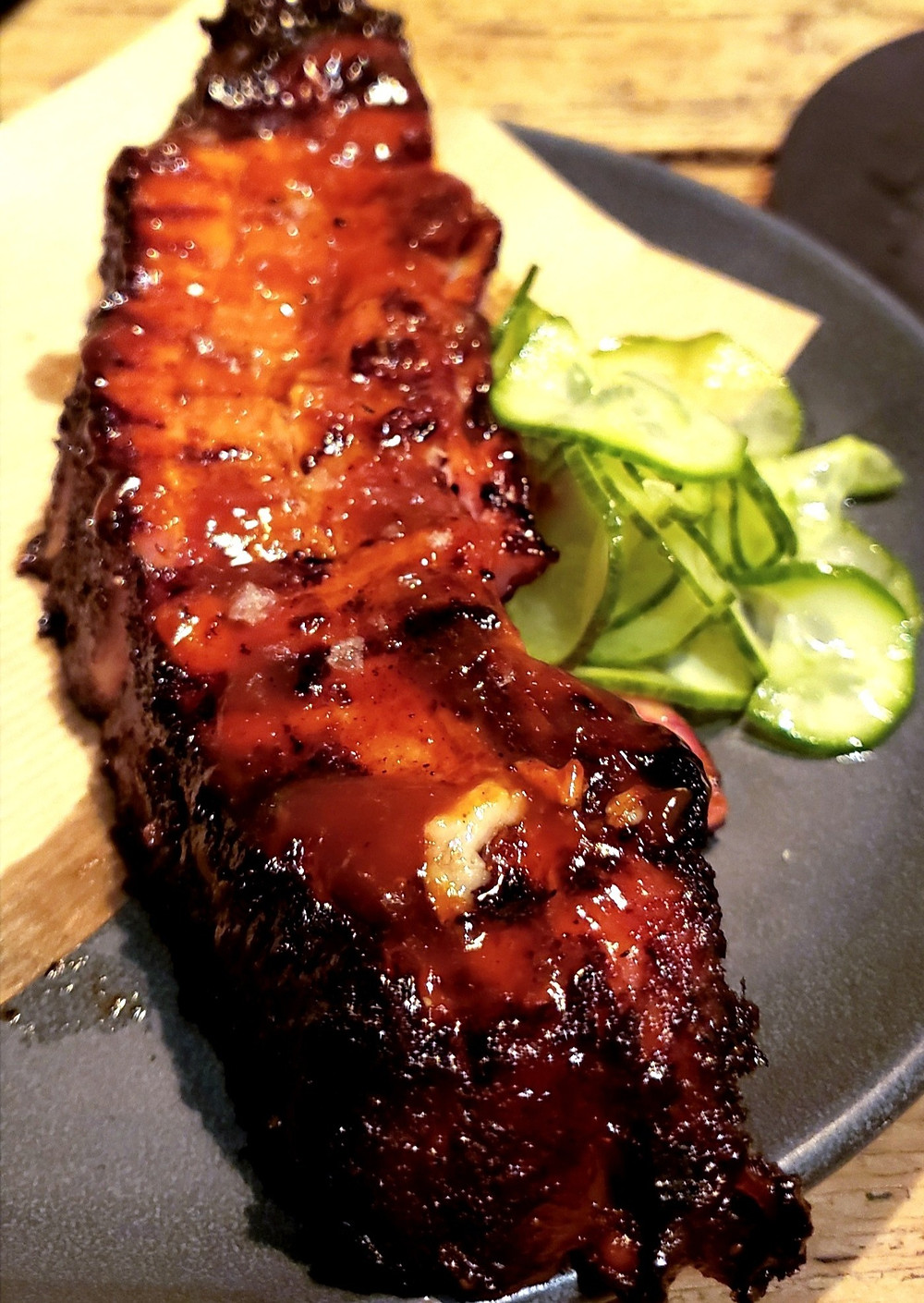 pork belly rib pickled cucumbers